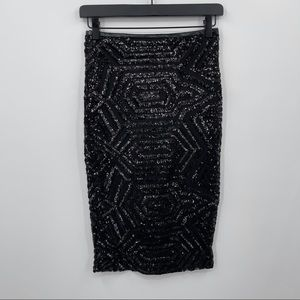 ANGL Black Sequin Pencil Skirt Size Small